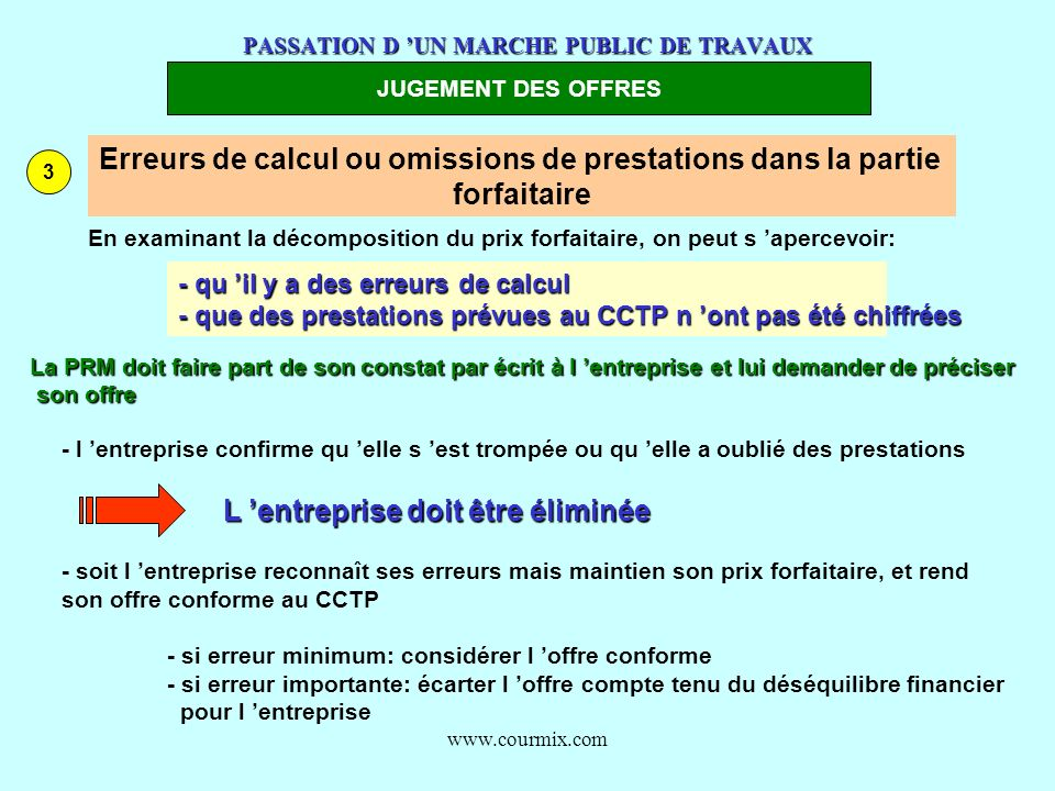 www.courmix.com PASSATION D UN MARCHE PUBLIC DE TRAVAUX JUGEMENT DES OFFRES 3 Erreurs de calcul ou omissions de prestations dans la partie forfaitaire