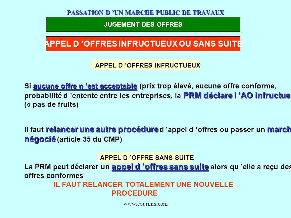 www.courmix.com PASSATION D UN MARCHE PUBLIC DE TRAVAUX JUGEMENT DES OFFRES APPEL D OFFRES INFRUCTUEUX OU SANS SUITE aucune offre n est acceptable Si