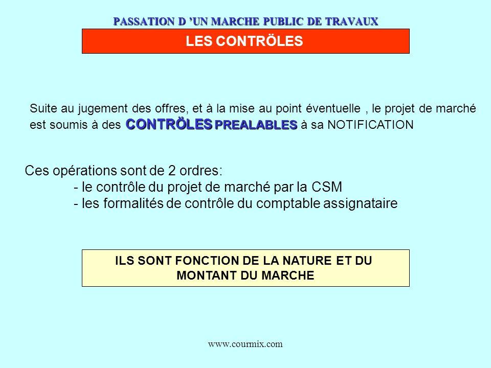 www.courmix.com PASSATION D UN MARCHE PUBLIC DE TRAVAUX LES CONTRÖLES Suite au jugement des offres, et à la mise au point éventuelle, le projet de mar