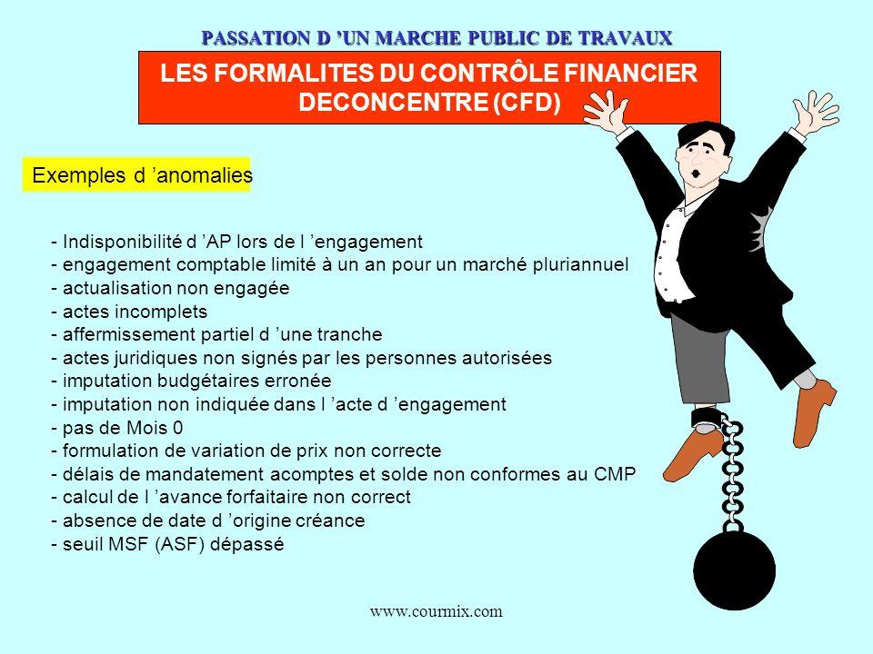 www.courmix.com PASSATION D UN MARCHE PUBLIC DE TRAVAUX LES FORMALITES DU CONTRÔLE FINANCIER DECONCENTRE (CFD) Exemples d anomalies - Indisponibilité