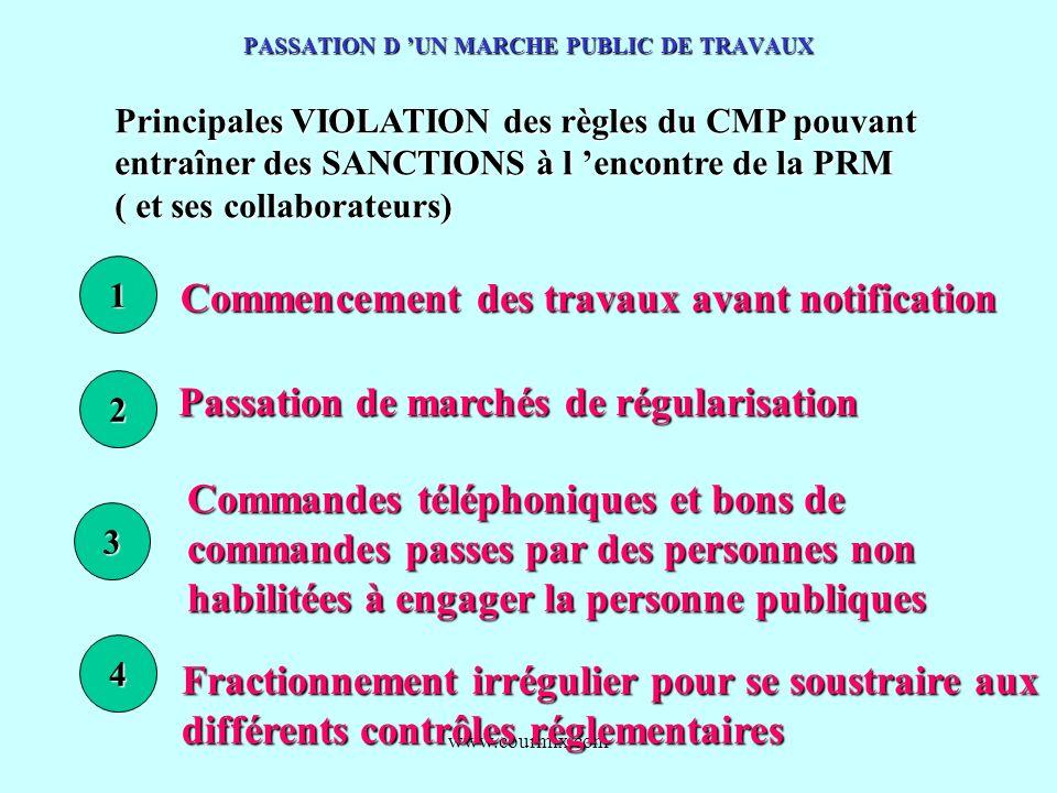 www.courmix.com PASSATION D UN MARCHE PUBLIC DE TRAVAUX Principales VIOLATION des règles du CMP pouvant entraîner des SANCTIONS à l encontre de la PRM