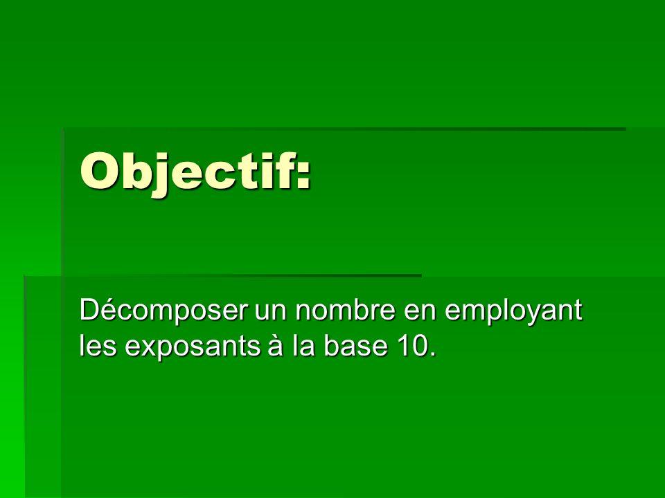 Objectif: Décomposer un nombre en employant les exposants à la base 10.