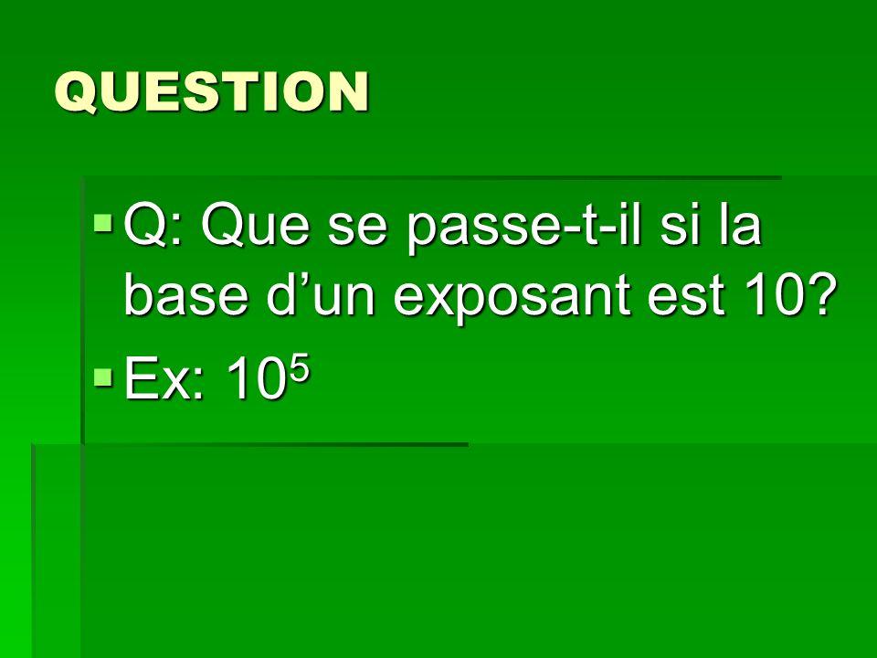 QUESTION Q: Que se passe-t-il si la base dun exposant est 10? Q: Que se passe-t-il si la base dun exposant est 10? Ex: 10 5 Ex: 10 5