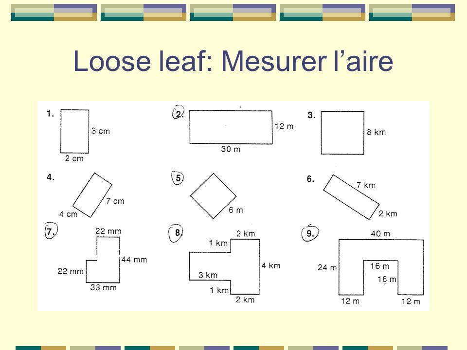 Loose leaf: Mesurer laire