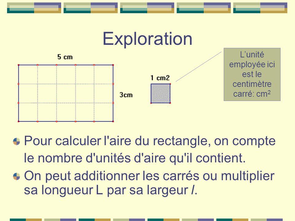 Exploration Pour calculer l'aire du rectangle, on compte le nombre d'unités d'aire qu'il contient. On peut additionner les carrés ou multiplier sa lon