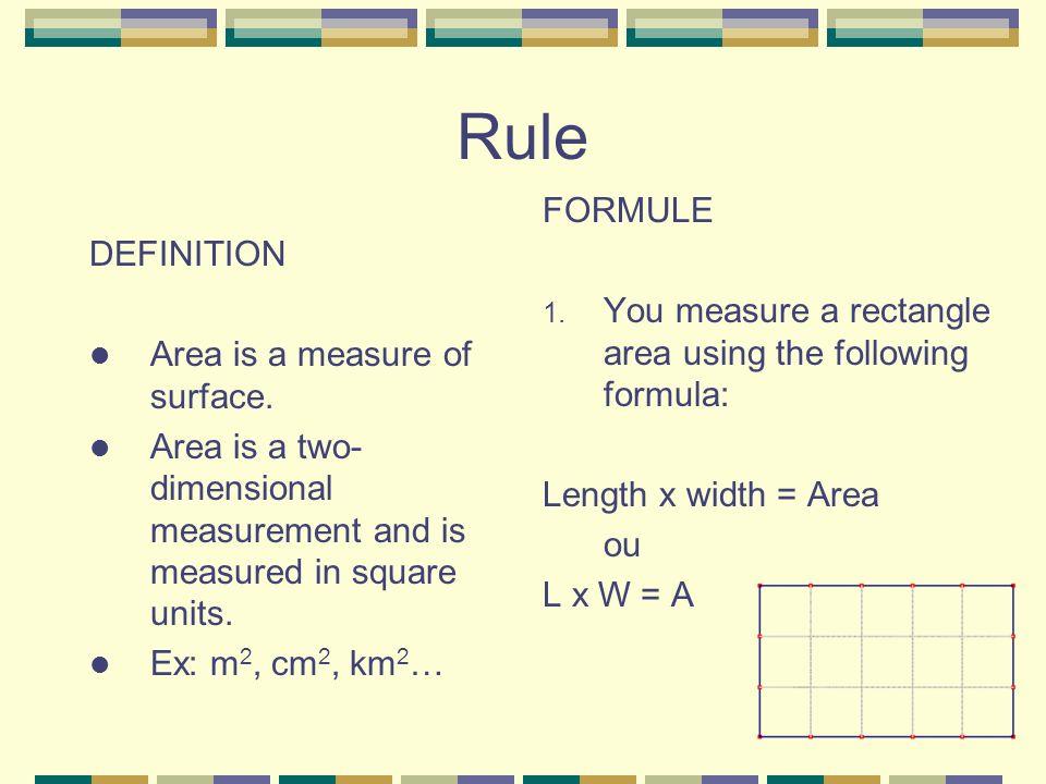 Exemples: Cahier Trouve: a) Laire du carré: b) Laire du rectangle: c) La longueur du rectangle: