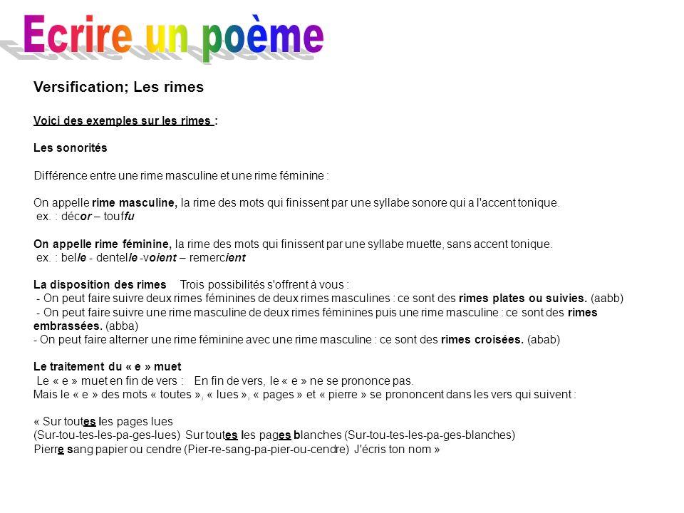 Versification; Les rimes Voici des exemples sur les rimes : Les sonorités Différence entre une rime masculine et une rime féminine : On appelle rime m