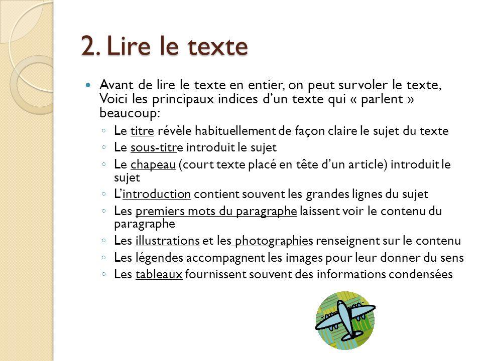 2. Lire le texte Avant de lire le texte en entier, on peut survoler le texte, Voici les principaux indices dun texte qui « parlent » beaucoup: Le titr