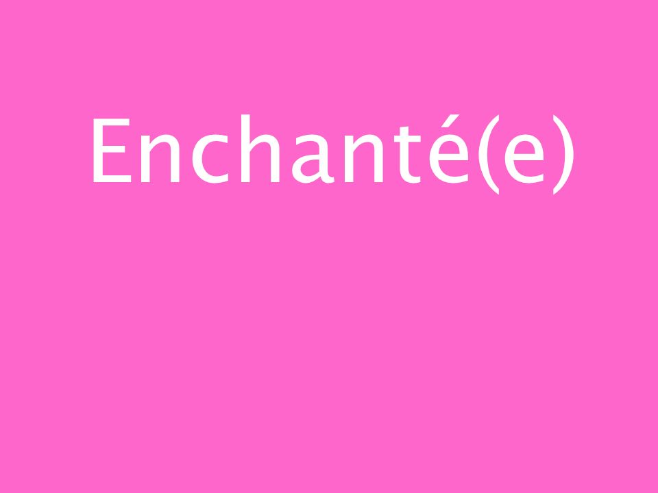 Enchanté(e)