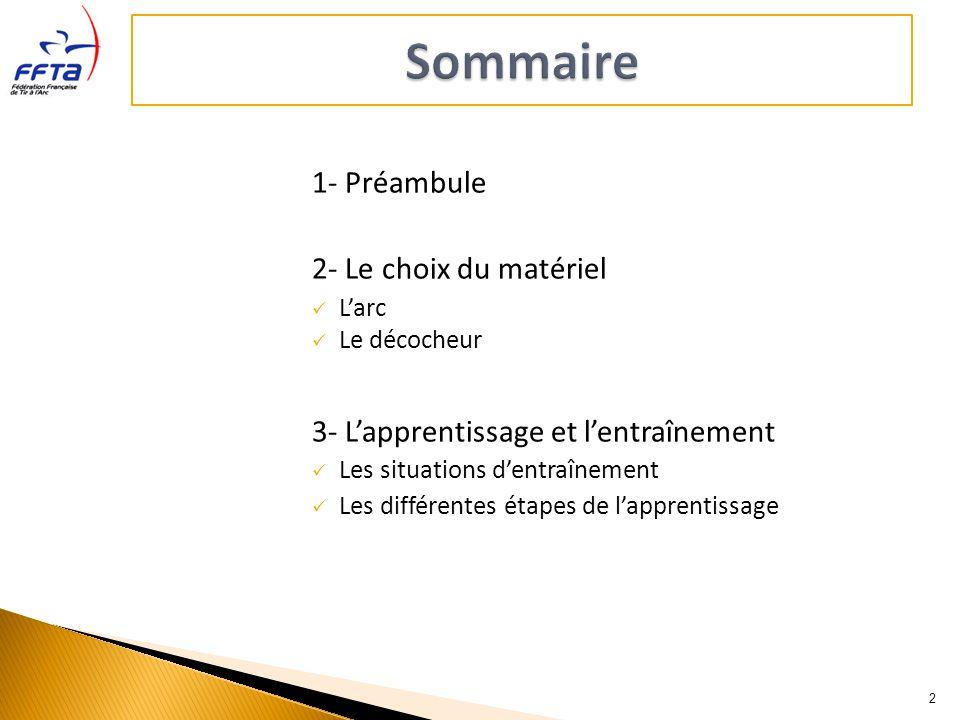 1- Préambule 2- Le choix du matériel Larc Le décocheur 3- Lapprentissage et lentraînement Les situations dentraînement Les différentes étapes de lappr