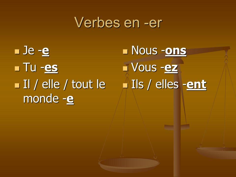 Verbes en -er Je -e Je -e Tu -es Tu -es Il / elle / tout le monde -e Il / elle / tout le monde -e Nous -ons Vous -ez Ils / elles -ent