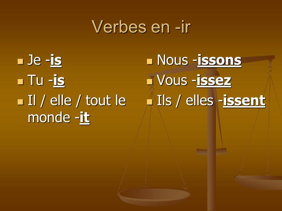 Verbes en -ir Je -is Je -is Tu -is Tu -is Il / elle / tout le monde -it Il / elle / tout le monde -it Nous -issons Vous -issez Ils / elles -issent