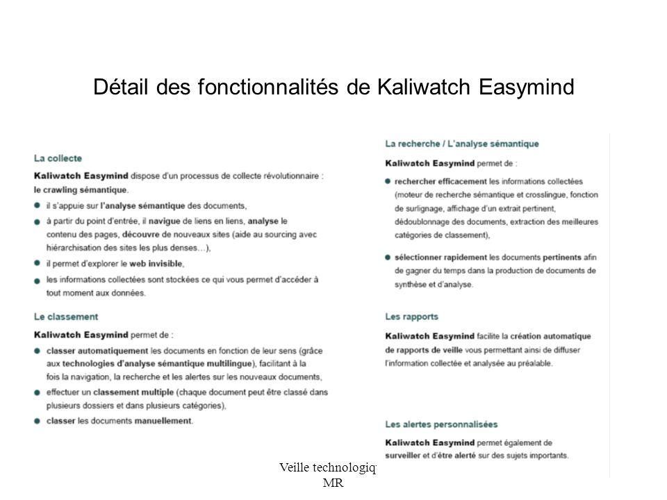 Veille technologique MR Détail des fonctionnalités de Kaliwatch Easymind