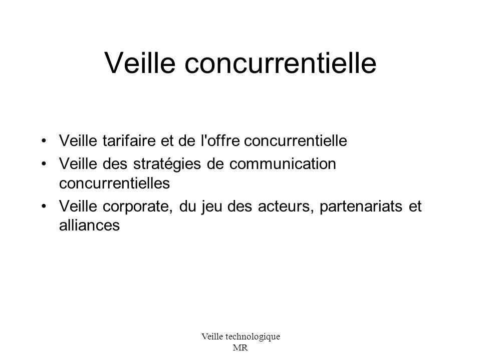 Veille technologique MR Veille concurrentielle Veille tarifaire et de l offre concurrentielle Veille des stratégies de communication concurrentielles Veille corporate, du jeu des acteurs, partenariats et alliances