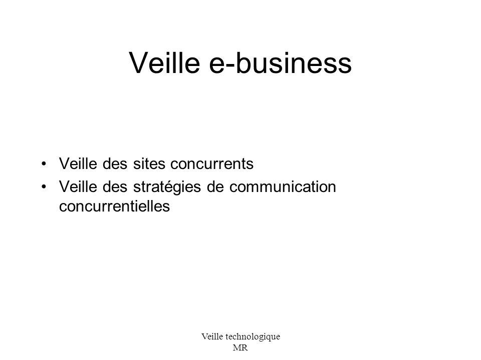Veille technologique MR Veille e-business Veille des sites concurrents Veille des stratégies de communication concurrentielles