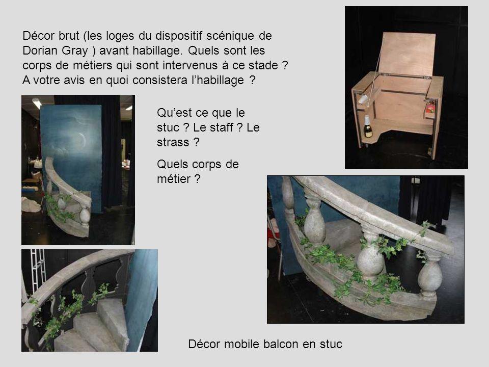 Décor brut (les loges du dispositif scénique de Dorian Gray ) avant habillage. Quels sont les corps de métiers qui sont intervenus à ce stade ? A votr