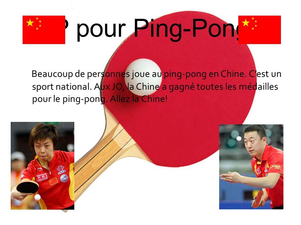 P pour Ping-Pong Beaucoup de personnes joue au ping-pong en Chine. Cest un sport national. Aux JO, la Chine a gagné toutes les médailles pour le ping-