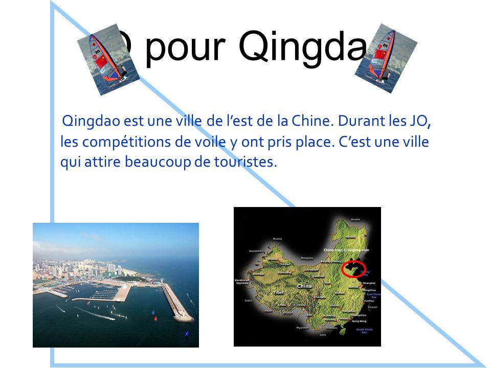 Q pour Qingdao Qingdao est une ville de lest de la Chine. Durant les JO, les compétitions de voile y ont pris place. Cest une ville qui attire beaucou