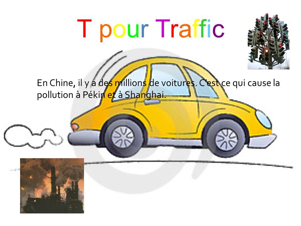 T pour TrafficT pour Traffic En Chine, il y a des millions de voitures. Cest ce qui cause la pollution à Pékin et à Shanghai.