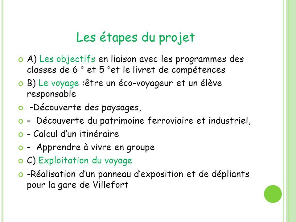 Les étapes du projet A) Les objectifs en liaison avec les programmes des classes de 6 ° et 5 °et le livret de compétences B) Le voyage :être un éco-vo