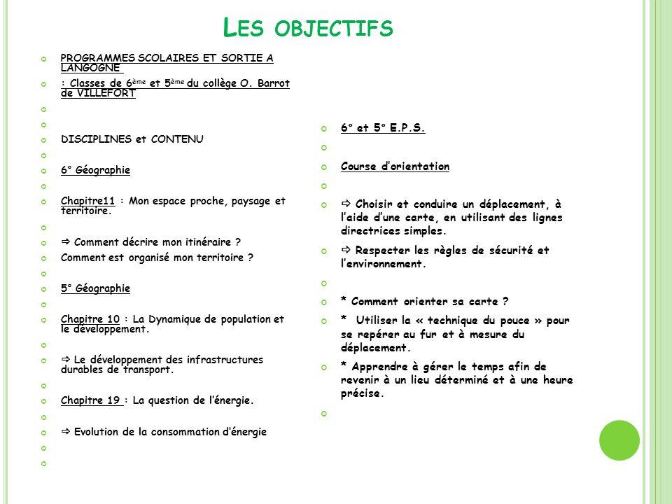 L ES OBJECTIFS PROGRAMMES SCOLAIRES ET SORTIE A LANGOGNE : Classes de 6 ème et 5 ème du collège O. Barrot de VILLEFORT DISCIPLINES et CONTENU 6° Géogr