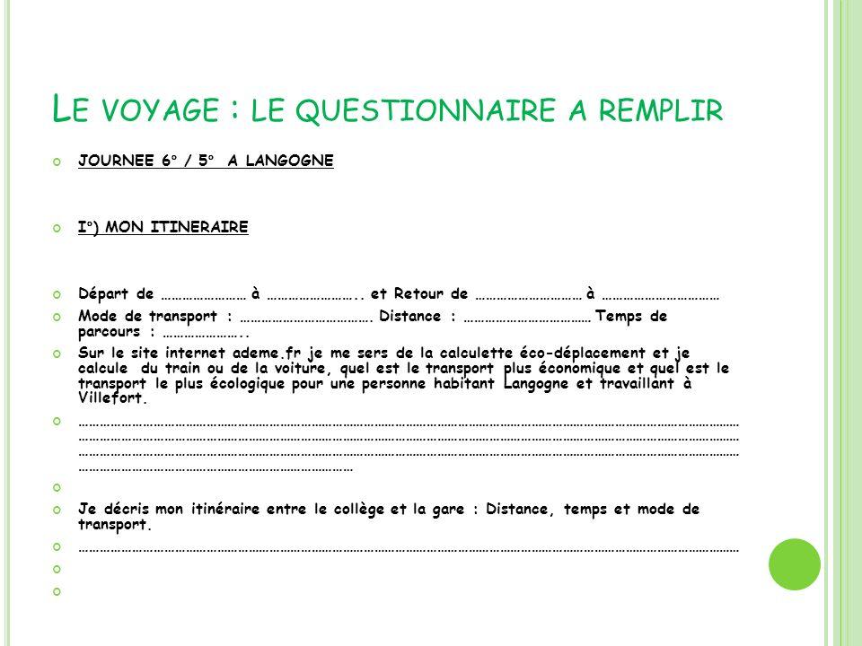L E VOYAGE : LE QUESTIONNAIRE A REMPLIR JOURNEE 6° / 5° A LANGOGNE I°) MON ITINERAIRE Départ de …………………… à …………………….. et Retour de ………………………… à ………………