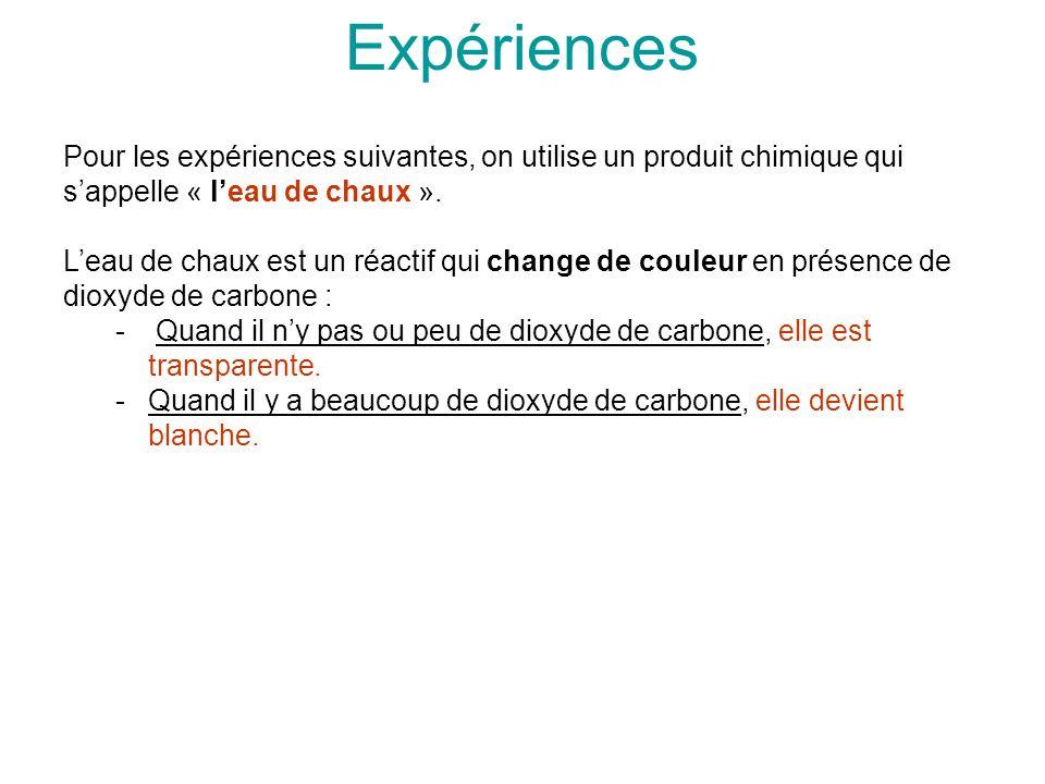 Expériences Pour les expériences suivantes, on utilise un produit chimique qui sappelle « leau de chaux ». Leau de chaux est un réactif qui change de