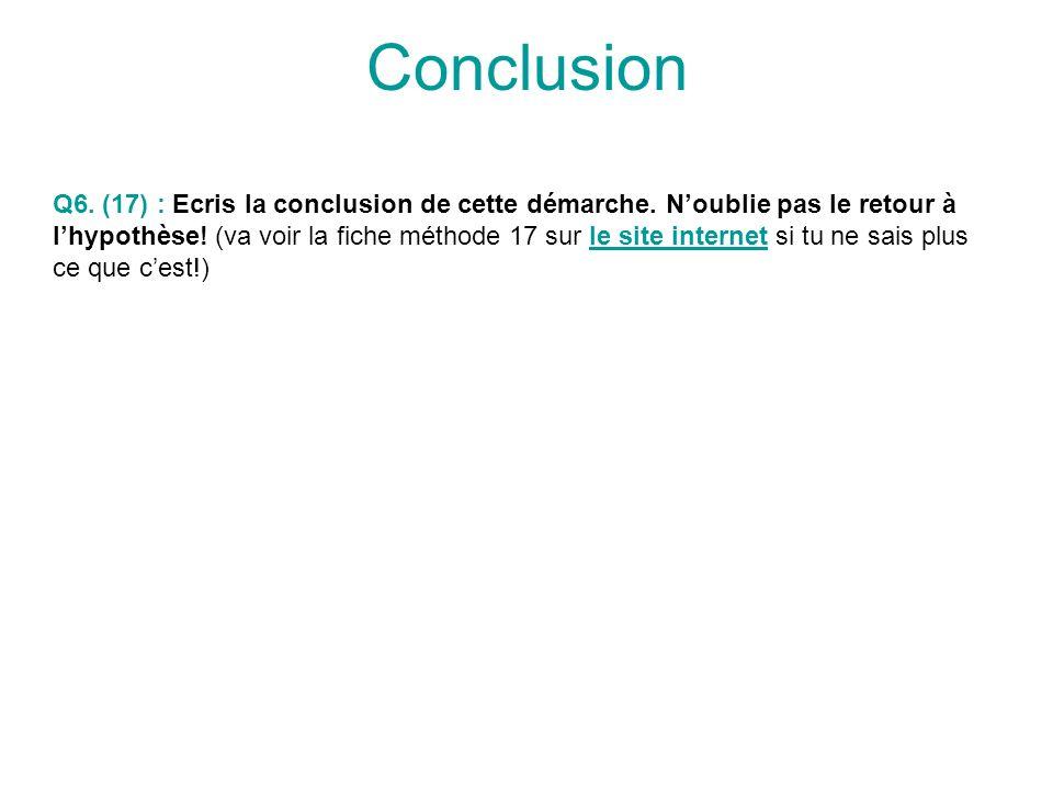 Conclusion Q6. (17) : Ecris la conclusion de cette démarche. Noublie pas le retour à lhypothèse! (va voir la fiche méthode 17 sur le site internet si