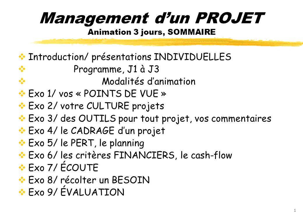 12 Exercice 8 : récolte dun BESOIN écrit : en deux pages MAXIMUM, présenter le plus clairement possible (avec exemples, détails, vos étapes suivantes pour satisfaire personnellement ce besoin, vos recommandations pour une amélioration, cette année, pour la promo suivante …) un de vos « besoin non satisfait » (ce que vous navez pas compris, ce qui vous manque encore … ) en management de projet.