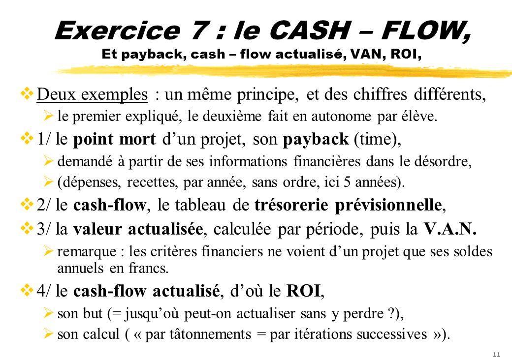 11 Exercice 7 : le CASH – FLOW, Et payback, cash – flow actualisé, VAN, ROI, Deux exemples : un même principe, et des chiffres différents, le premier
