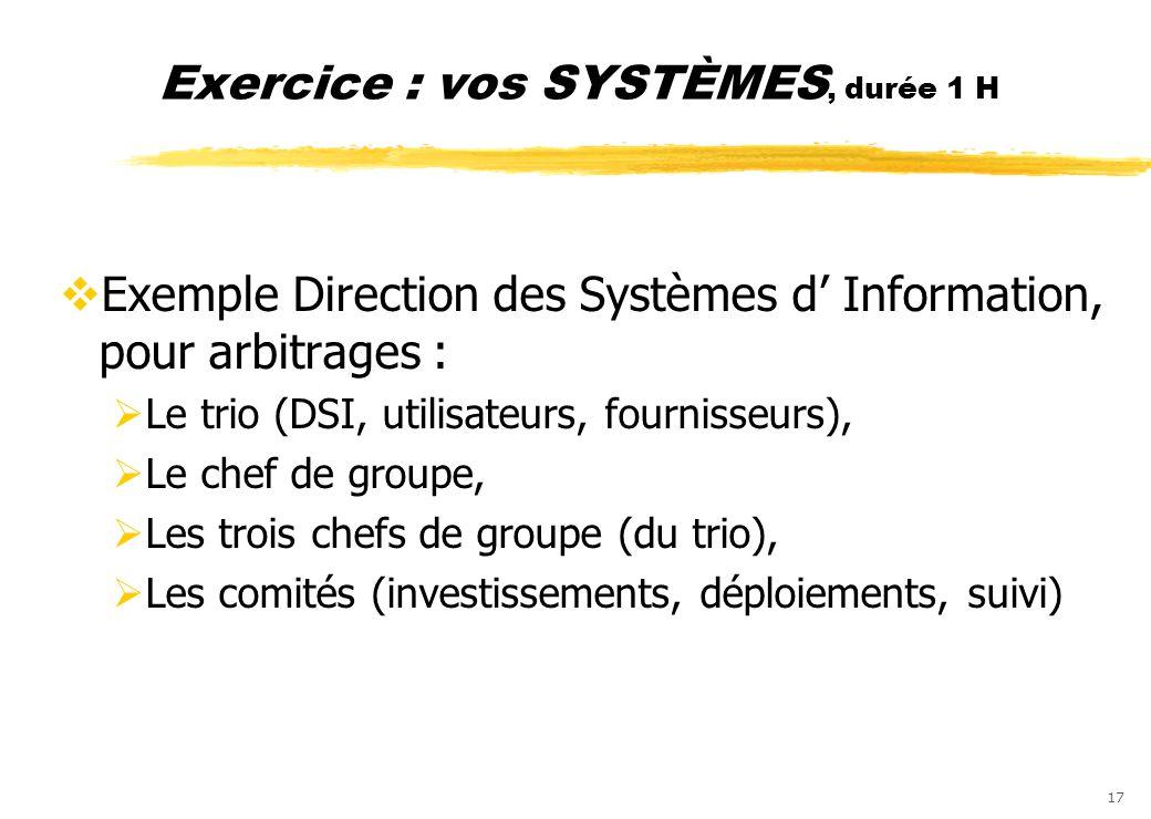 17 Exercice : vos SYSTÈMES, durée 1 H Exemple Direction des Systèmes d Information, pour arbitrages : Le trio (DSI, utilisateurs, fournisseurs), Le ch