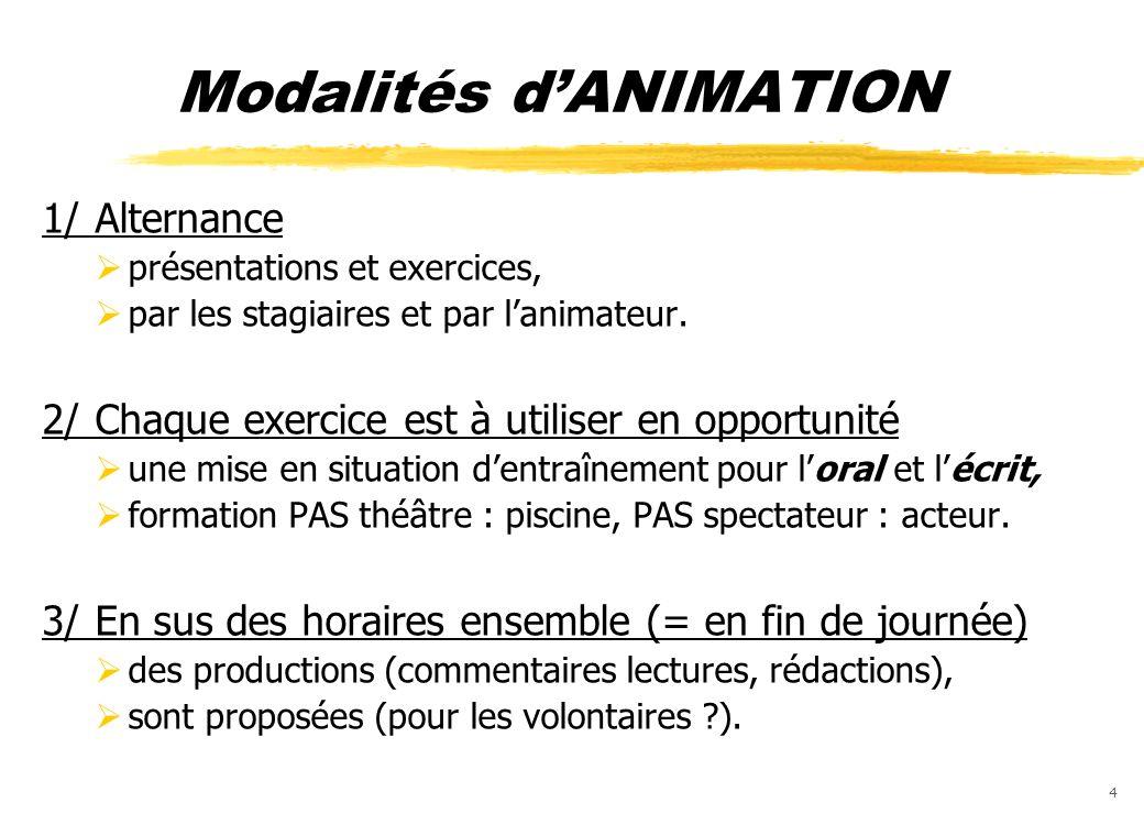 4 Modalités dANIMATION 1/ Alternance présentations et exercices, par les stagiaires et par lanimateur. 2/ Chaque exercice est à utiliser en opportunit