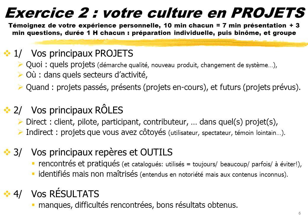 6 Exercice 2 : votre culture en PROJETS Témoignez de votre expérience personnelle, 10 min chacun = 7 min présentation + 3 min questions, durée 1 H cha