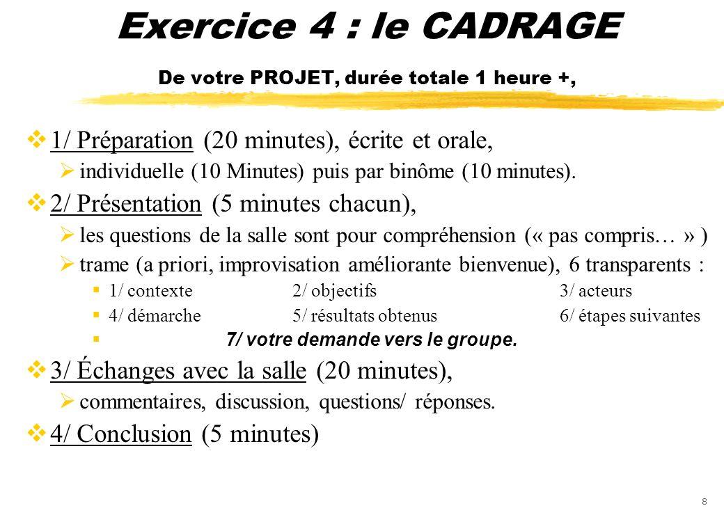 8 Exercice 4 : le CADRAGE De votre PROJET, durée totale 1 heure +, 1/ Préparation (20 minutes), écrite et orale, individuelle (10 Minutes) puis par bi