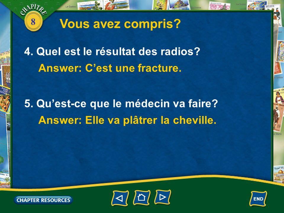 8 Vous avez compris.1. Fabien a mal où. Answer: Il a mal à la cheville.