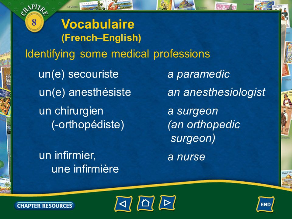 8 une béquillea crutch un hôpitala hospital le service des urgences the emergency room la salle dopérationthe operating room Talking about medical emergencies and a hospital Vocabulaire (French–English)