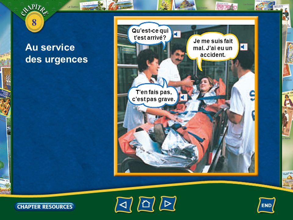 8 Au service des urgences le service des urgences une ambulance un brancard Les secouristes sont arrivés.