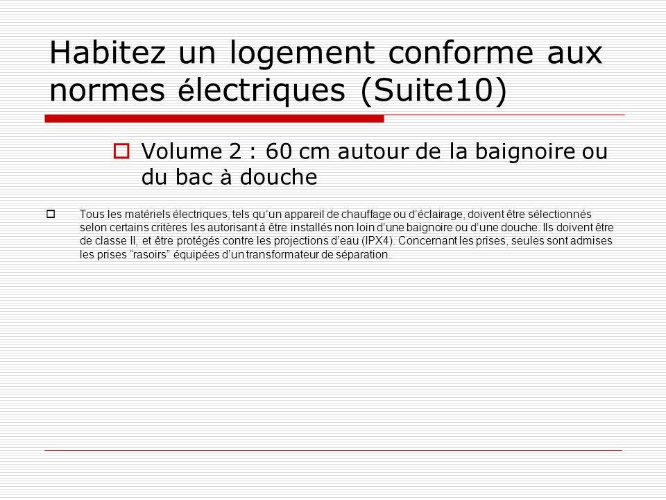 Habitez un logement conforme aux normes é lectriques (Suite10) Volume 2 : 60 cm autour de la baignoire ou du bac à douche Tous les matériels électriqu