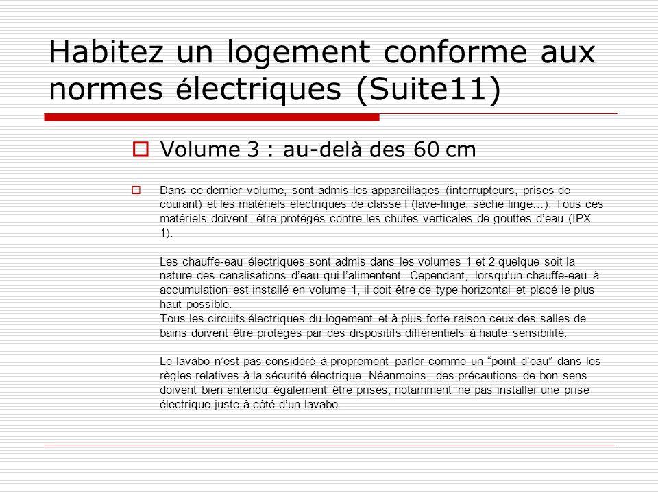 Habitez un logement conforme aux normes é lectriques (Suite11) Volume 3 : au-del à des 60 cm Dans ce dernier volume, sont admis les appareillages (int