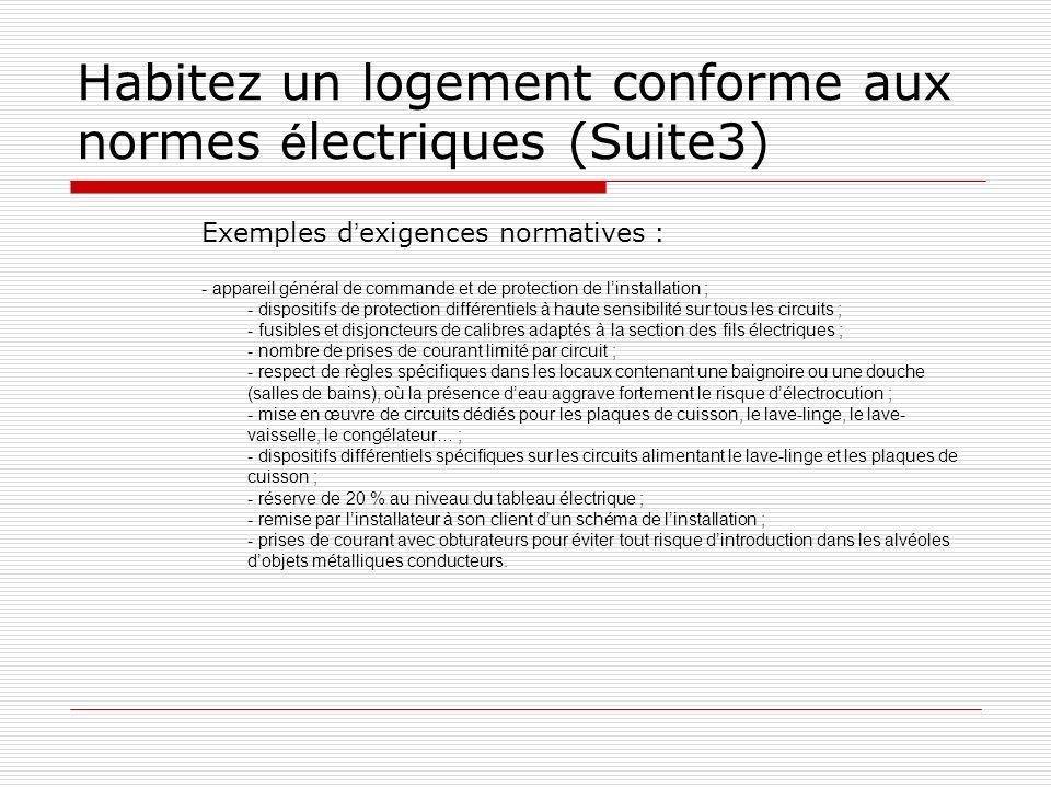 Habitez un logement conforme aux normes é lectriques (Suite3) Exemples d exigences normatives : - appareil général de commande et de protection de lin