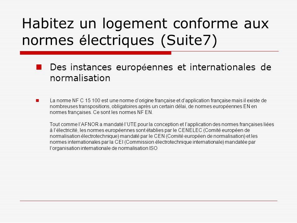Habitez un logement conforme aux normes é lectriques (Suite7) Des instances europ é ennes et internationales de normalisation La norme NF C 15 100 est