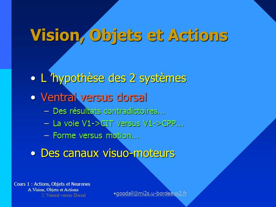 goodall@mi2s.u-bordeaux2.fr Vision, Objets et Actions L hypothèse des 2 systèmesL hypothèse des 2 systèmes Ventral versus dorsalVentral versus dorsal
