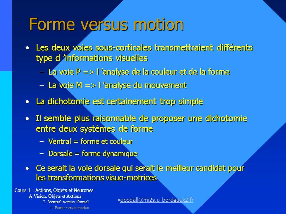 goodall@mi2s.u-bordeaux2.fr Forme versus motion Les deux voies sous-corticales transmettraient différents type d informations visuellesLes deux voies