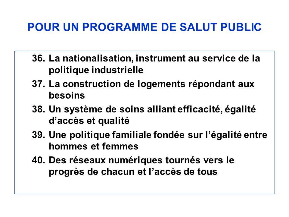 POUR UN PROGRAMME DE SALUT PUBLIC 36.La nationalisation, instrument au service de la politique industrielle 37.La construction de logements répondant