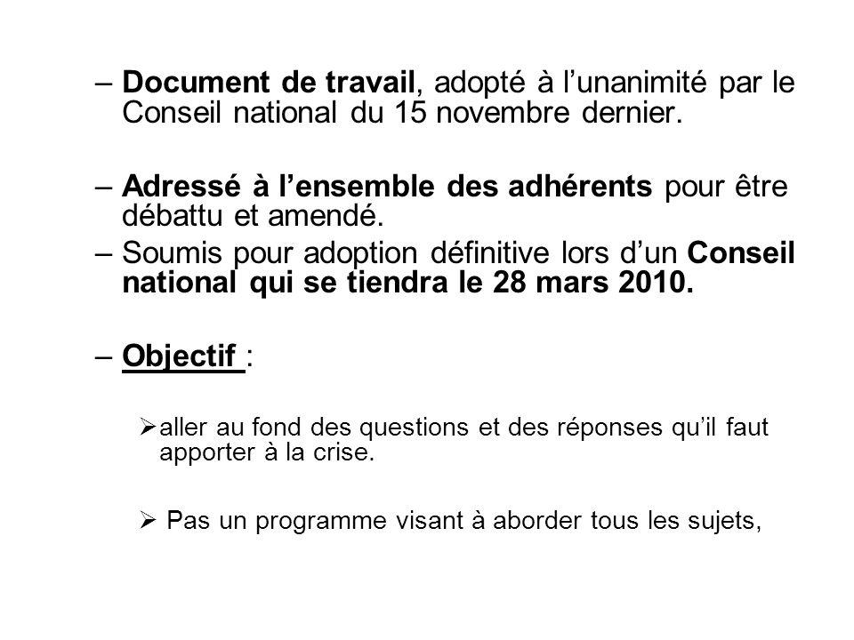 –Document de travail, adopté à lunanimité par le Conseil national du 15 novembre dernier. –Adressé à lensemble des adhérents pour être débattu et amen