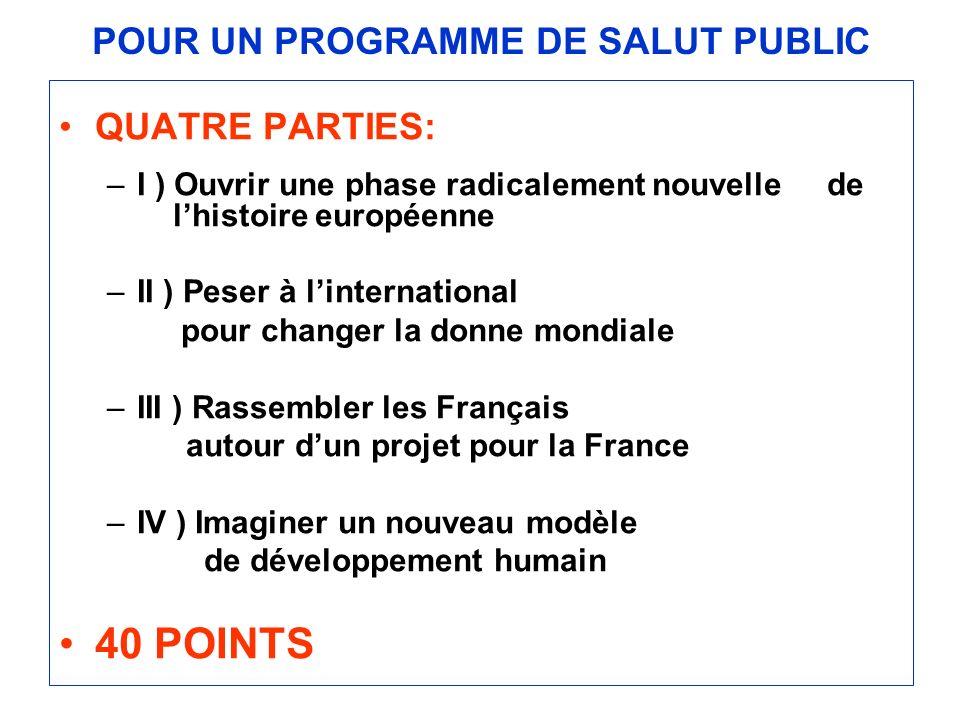 POUR UN PROGRAMME DE SALUT PUBLIC QUATRE PARTIES: –I ) Ouvrir une phase radicalement nouvelle de lhistoire européenne –II ) Peser à linternational pou