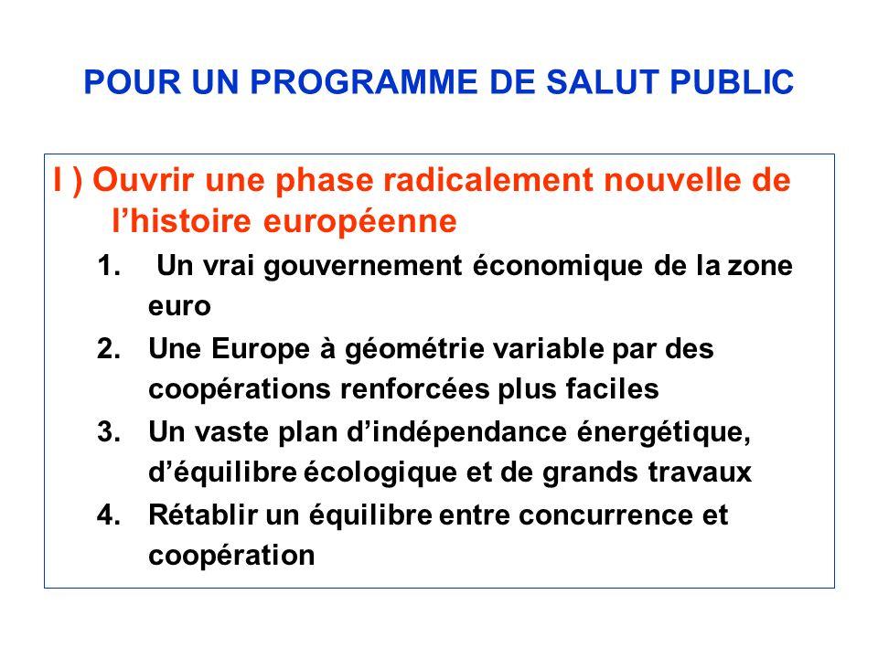 POUR UN PROGRAMME DE SALUT PUBLIC I ) Ouvrir une phase radicalement nouvelle de lhistoire européenne 1. Un vrai gouvernement économique de la zone eur