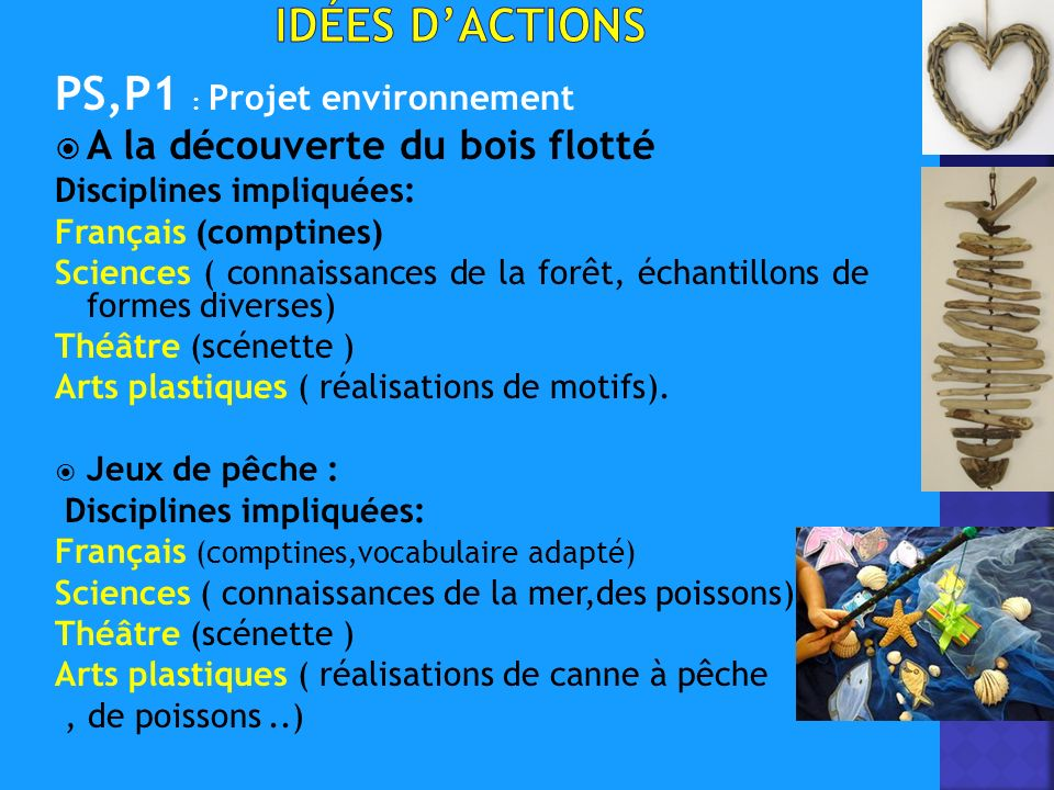 PS,P1 : Projet environnement A la découverte du bois flotté Disciplines impliquées: Français (comptines) Sciences ( connaissances de la forêt, échantillons de formes diverses) Théâtre (scénette ) Arts plastiques ( réalisations de motifs).