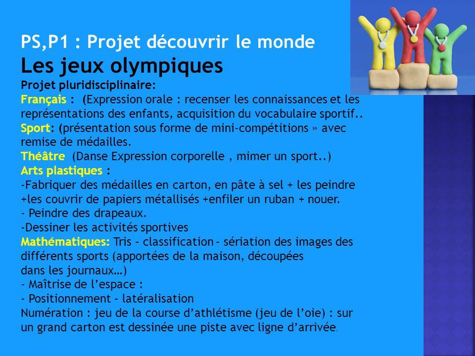 PS,P1 : Projet découvrir le monde Les jeux olympiques Projet pluridisciplinaire: Français : (Expression orale : recenser les connaissances et les représentations des enfants, acquisition du vocabulaire sportif..