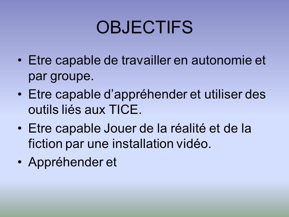 OBJECTIFS Etre capable de travailler en autonomie et par groupe. Etre capable dappréhender et utiliser des outils liés aux TICE. Etre capable Jouer de
